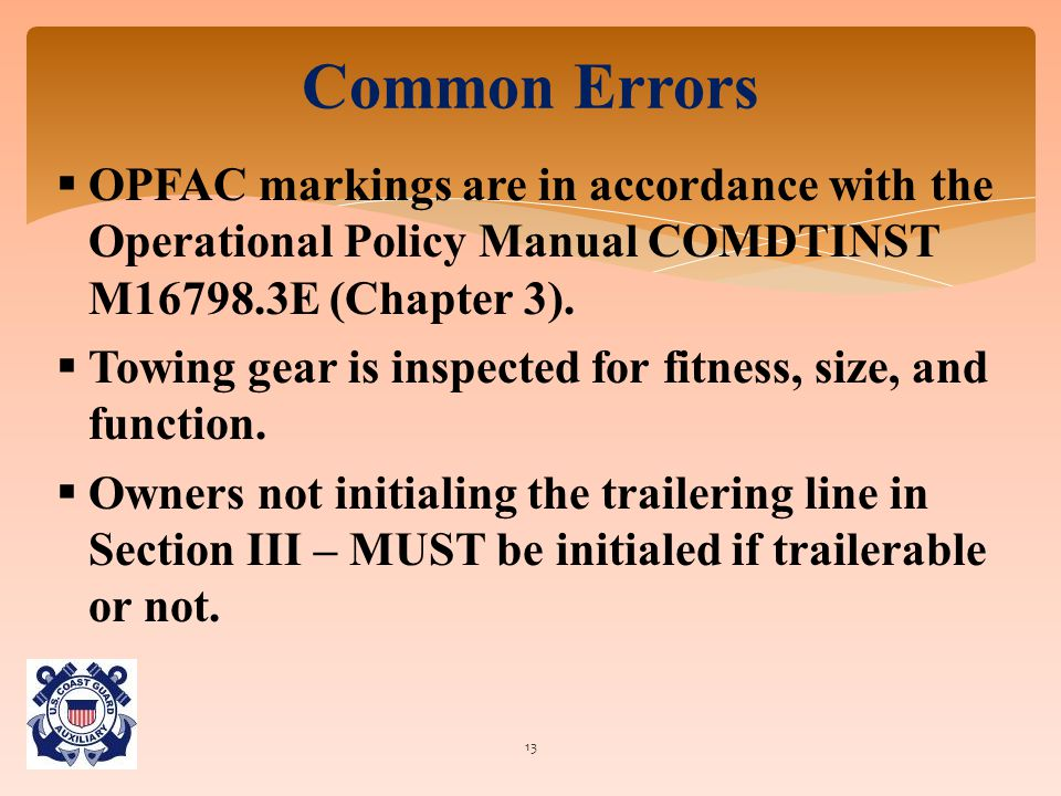  OPFAC markings are in accordance with the Operational Policy Manual COMDTINST M16798.3E (Chapter 3).