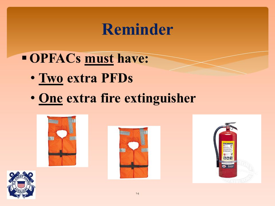  OPFACs must have: Two extra PFDs One extra fire extinguisher Reminder 14