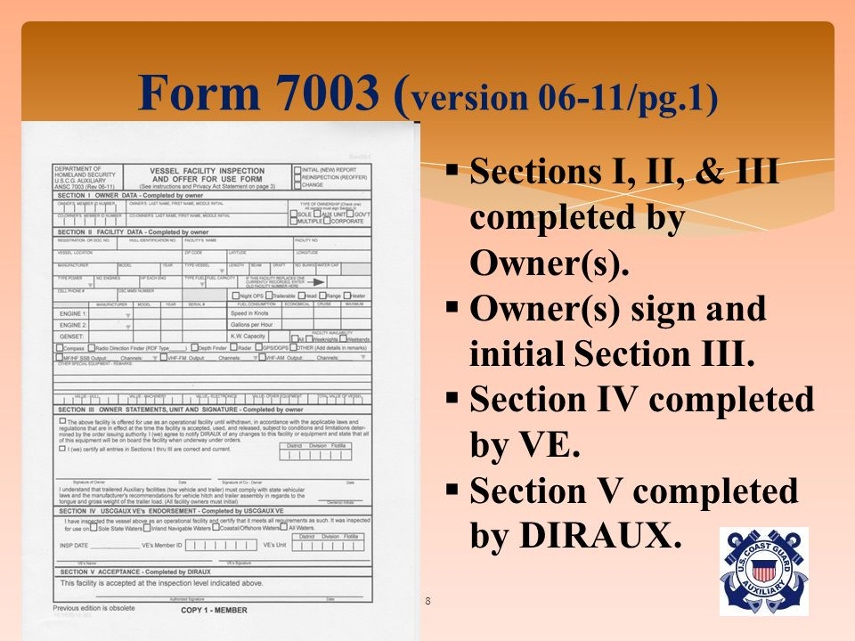 8 Form 7003 ( version 06-11/pg.1)  Sections I, II, & III completed by Owner(s).  Owner(s) sign and initial Section III.  Section IV completed by VE