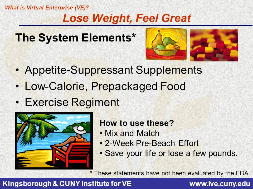 Kingsborough & CUNY Institute for VE www.ive.cuny.edu Lose Weight, Feel Great The System Elements* Appetite-Suppressant Supplements Low-Calorie, Prepa