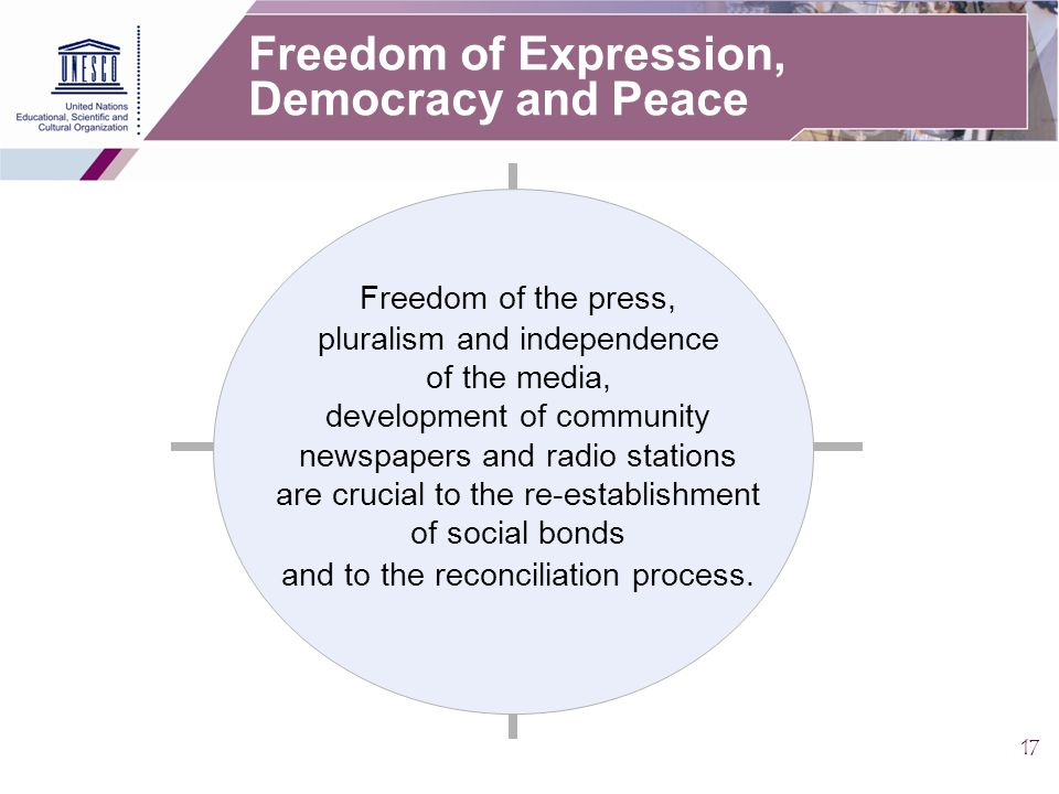 17 Freedom of Expression, Democracy and Peace Freedom of the press, pluralism and independence of the media, development of community newspapers and radio stations are crucial to the re-establishment of social bonds and to the reconciliation process.
