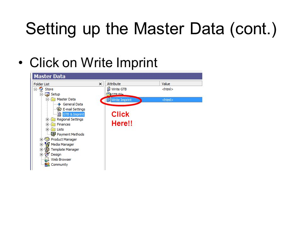 Setting up the Master Data (cont.) Click on Write Imprint Click Here!!