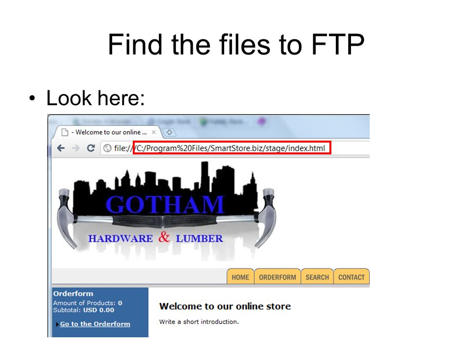 Find the files to FTP Look here: