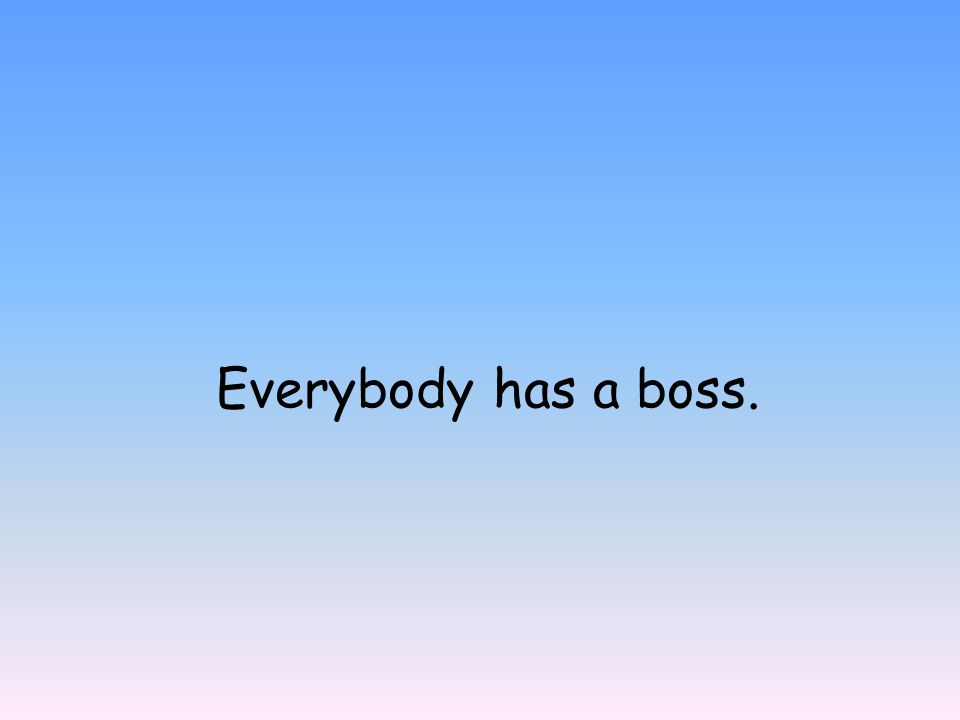 Everybody has a boss.