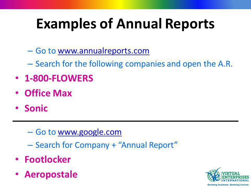 Examples of Annual Reports – Go to www.annualreports.comwww.annualreports.com – Search for the following companies and open the A.R.