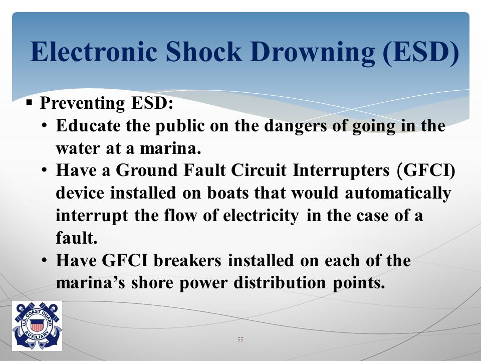  Preventing ESD: Educate the public on the dangers of going in the water at a marina.