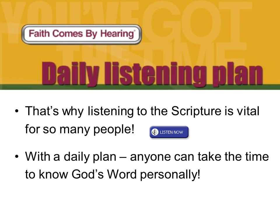 Today everyone receives FREE Audio Bible CDs in MP3 format.