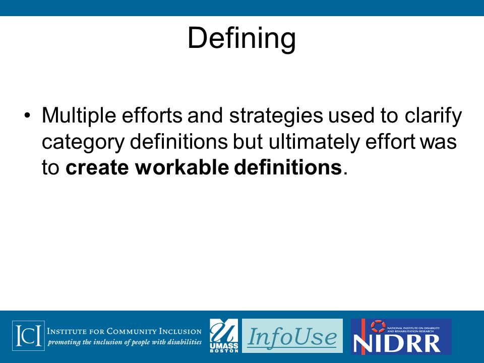 InfoUse Defining Multiple efforts and strategies used to clarify category definitions but ultimately effort was to create workable definitions.