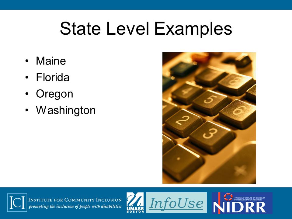 InfoUse State Level Examples Maine Florida Oregon Washington