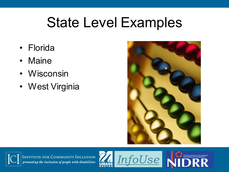 InfoUse State Level Examples Florida Maine Wisconsin West Virginia
