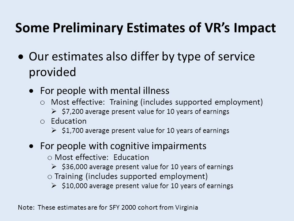  Our estimates also differ by type of service provided  For people with mental illness o Most effective: Training (includes supported employment)  $7,200 average present value for 10 years of earnings o Education  $1,700 average present value for 10 years of earnings  For people with cognitive impairments o Most effective: Education  $36,000 average present value for 10 years of earnings o Training (includes supported employment)  $10,000 average present value for 10 years of earnings Some Preliminary Estimates of VR's Impact Note: These estimates are for SFY 2000 cohort from Virginia