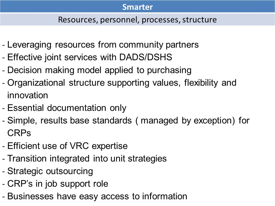 Smarter Resources, personnel, processes, structure - Leveraging resources from community partners - Effective joint services with DADS/DSHS - Decision