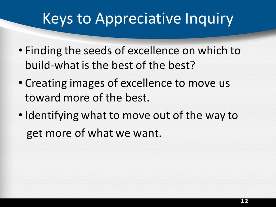 Keys to Appreciative Inquiry Finding the seeds of excellence on which to build-what is the best of the best? Creating images of excellence to move us