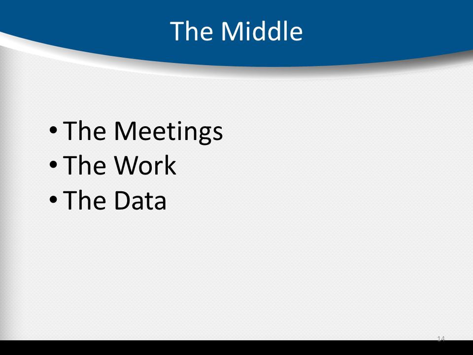 The Middle 14 The Meetings The Work The Data