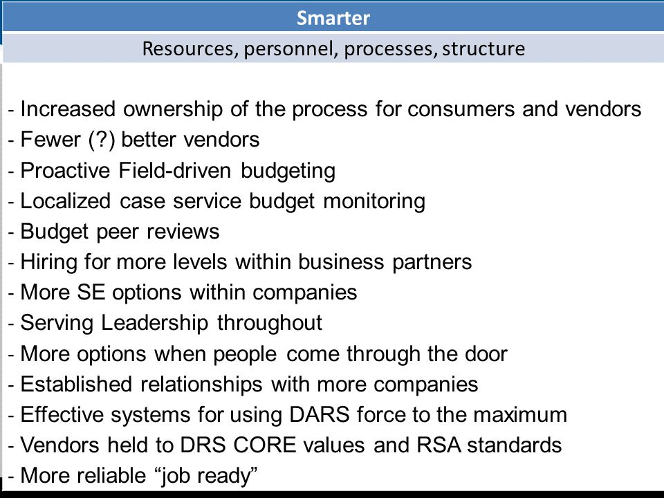 Smarter Resources, personnel, processes, structure - Increased ownership of the process for consumers and vendors - Fewer ( ) better vendors - Proactive Field-driven budgeting - Localized case service budget monitoring - Budget peer reviews - Hiring for more levels within business partners - More SE options within companies - Serving Leadership throughout - More options when people come through the door - Established relationships with more companies - Effective systems for using DARS force to the maximum - Vendors held to DRS CORE values and RSA standards - More reliable job ready 9