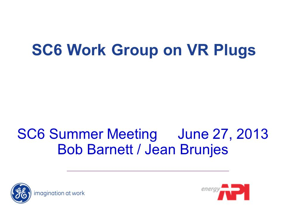 SC6 Work Group on VR Plugs SC6 Summer Meeting June 27, 2013 Bob Barnett / Jean Brunjes