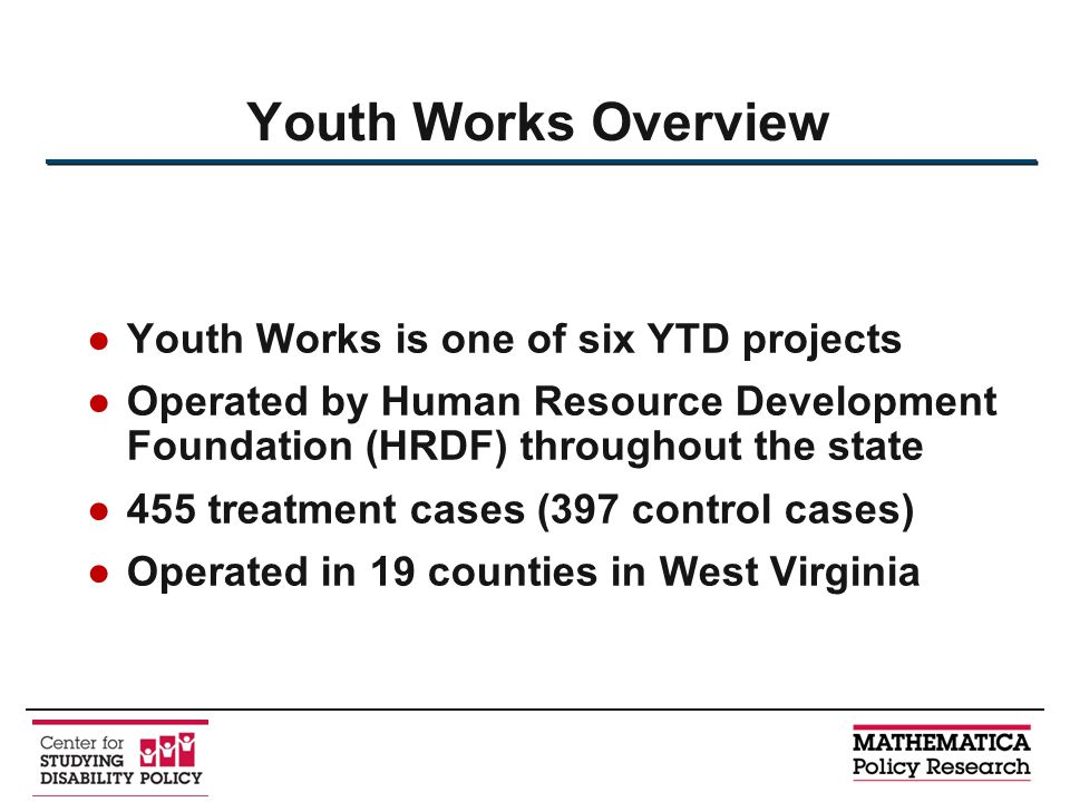 ●Youth Works is one of six YTD projects ●Operated by Human Resource Development Foundation (HRDF) throughout the state ●455 treatment cases (397 contr