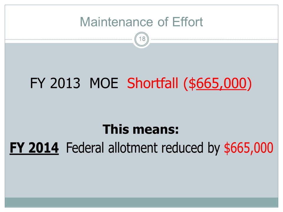 Maintenance of Effort FY 2011 $14,665,000 FY 2013 $14,000,000 MOE Shortfall ($ 665,000) 17