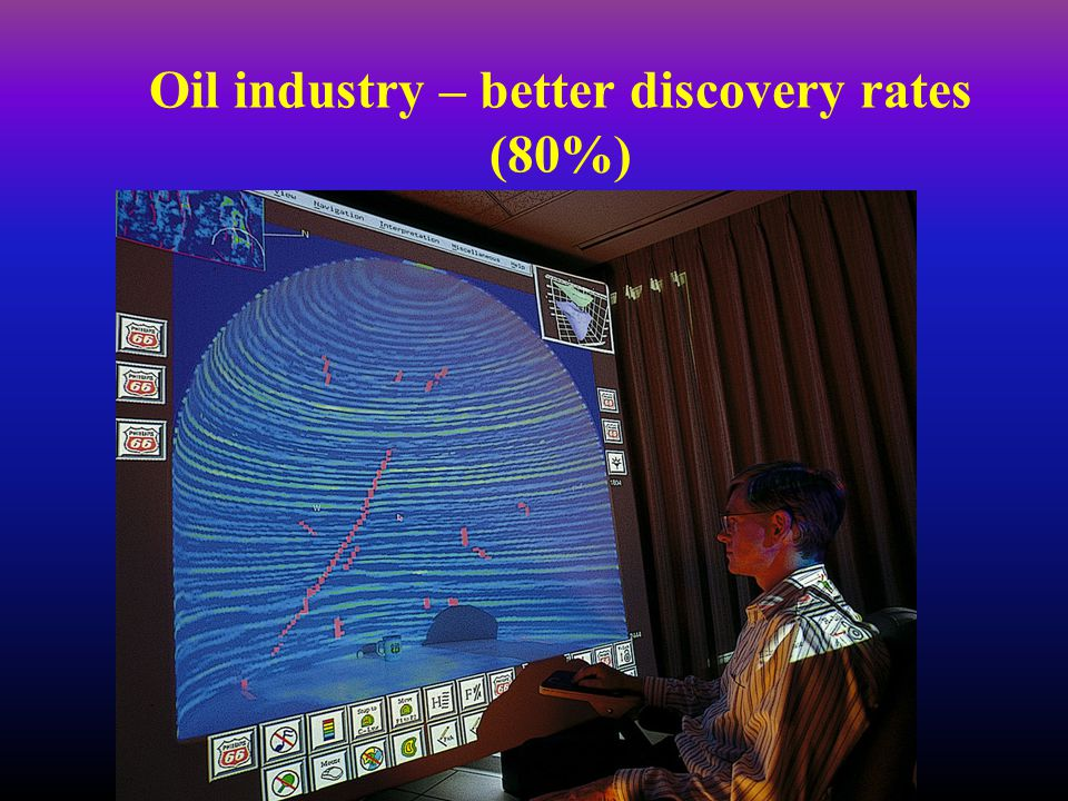 Oil industry – better discovery rates (80%)