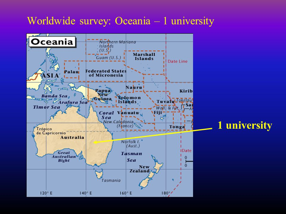 Worldwide survey: Oceania – 1 university 1 university