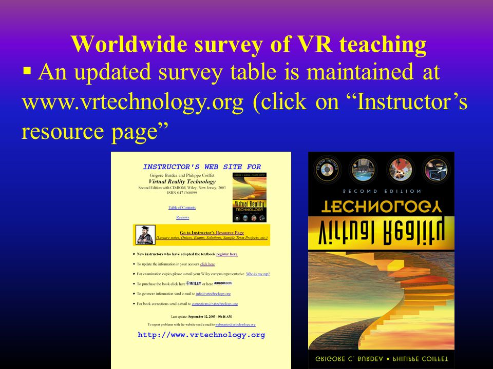 Worldwide survey of VR teaching  An updated survey table is maintained at www.vrtechnology.org (click on Instructor's resource page