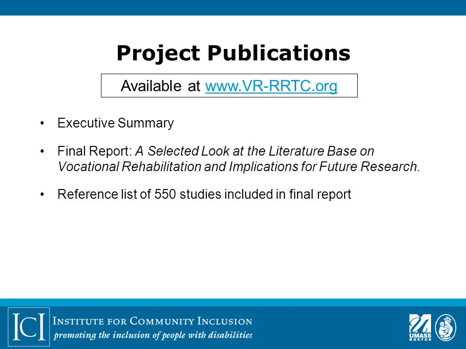 Project Publications Executive Summary Final Report: A Selected Look at the Literature Base on Vocational Rehabilitation and Implications for Future Research.