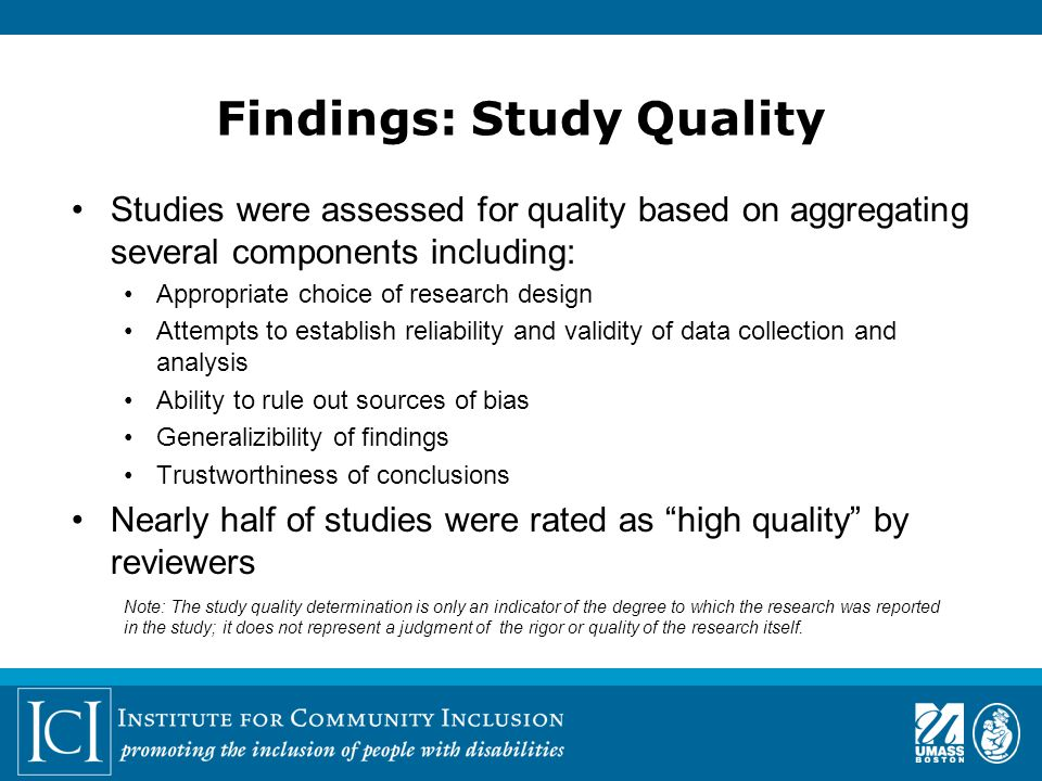 Findings: Study Quality Studies were assessed for quality based on aggregating several components including: Appropriate choice of research design Attempts to establish reliability and validity of data collection and analysis Ability to rule out sources of bias Generalizibility of findings Trustworthiness of conclusions Nearly half of studies were rated as high quality by reviewers Note: The study quality determination is only an indicator of the degree to which the research was reported in the study; it does not represent a judgment of the rigor or quality of the research itself.