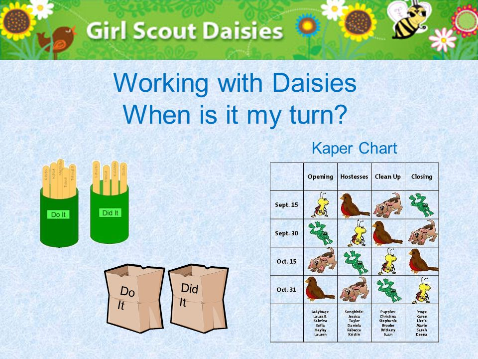 Working with Daisies When is it my turn? Kaper Chart Do It Did It