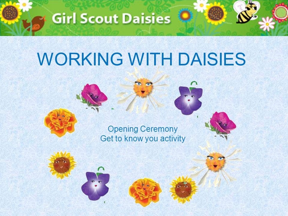 WORKING WITH DAISIES Opening Ceremony Get to know you activity