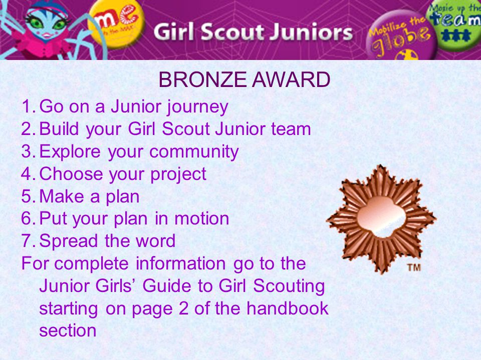 BRONZE AWARD 1.Go on a Junior journey 2.Build your Girl Scout Junior team 3.Explore your community 4.Choose your project 5.Make a plan 6.Put your plan