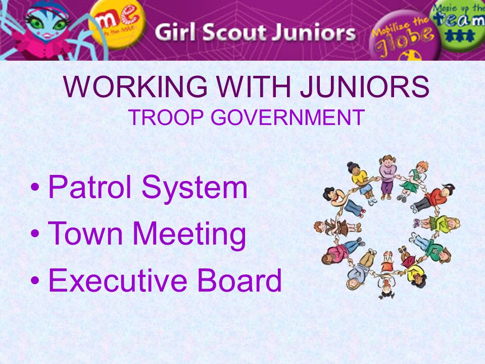 WORKING WITH JUNIORS TROOP GOVERNMENT Patrol System Town Meeting Executive Board