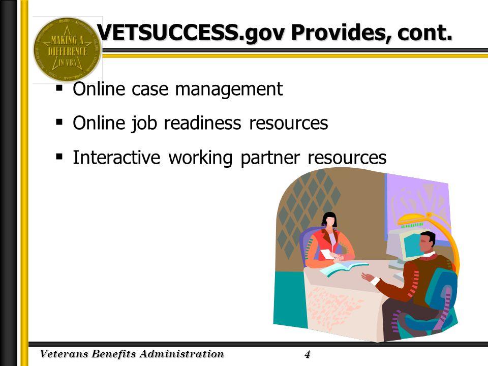 Veterans Benefits Administration 2/23/2005 VETSUCCESS.gov Provides, cont.