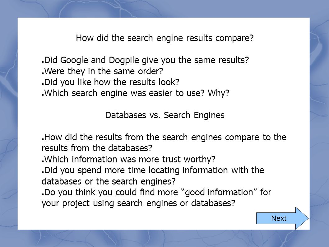 How did the search engine results compare? ● Did Google and Dogpile give you the same results? ● Were they in the same order? ● Did you like how the r