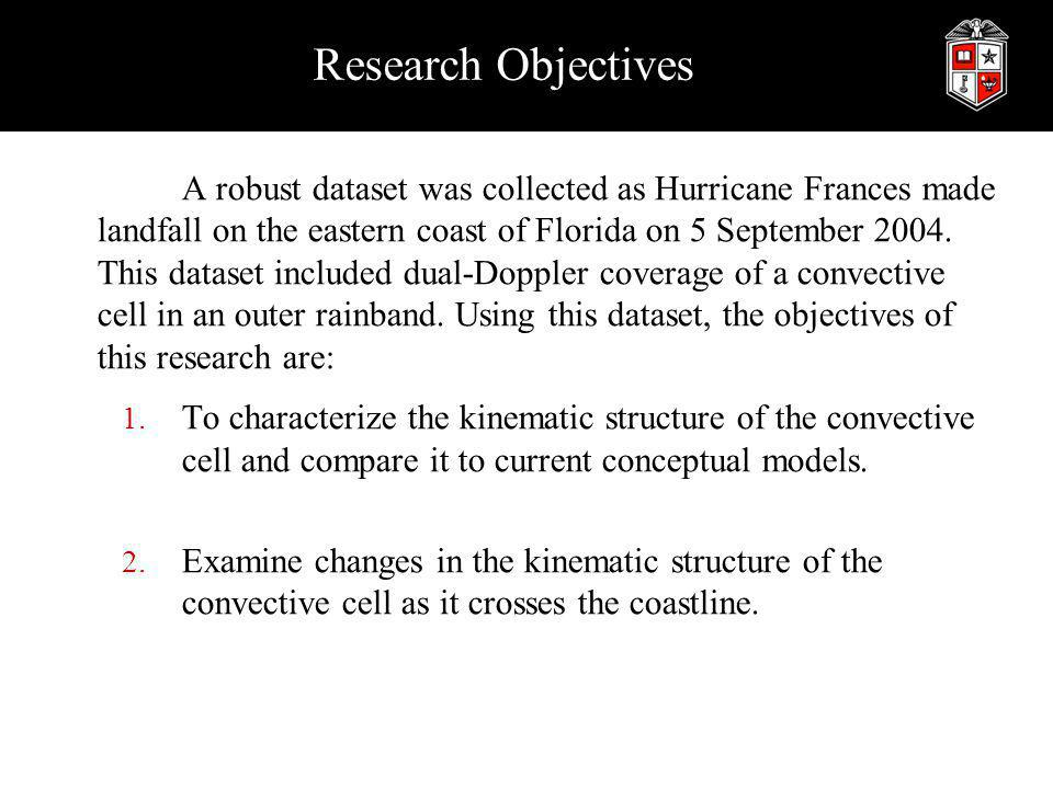 Preliminary Analysis Summary Preliminary analysis shows: The convective cell compares nicely with conceptual models: convergence on inside of convection and speed max on outside The convective cell seems to straddle the shear feature The shear feature most pronounced at the lowest levels (especially the speed minimum) Horizontal convergence decreases substantially with height Horizontal convergence also decreases as the cell makes landfall