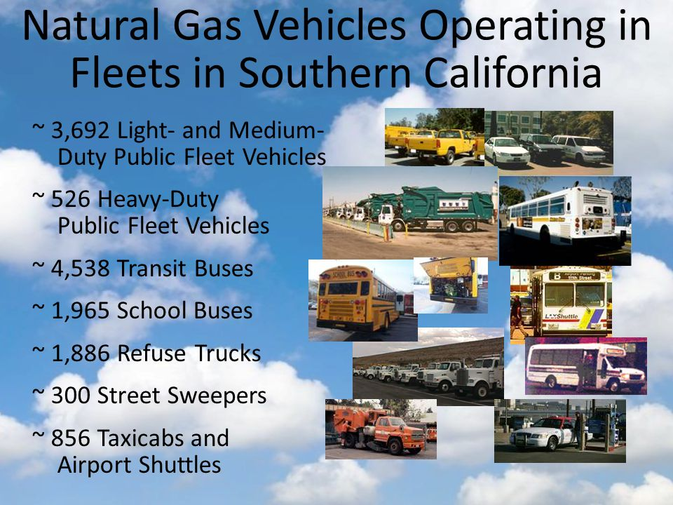 Natural Gas Vehicles Operating in Fleets in Southern California ~ 3,692 Light- and Medium- Duty Public Fleet Vehicles ~ 526 Heavy-Duty Public Fleet Vehicles ~ 4,538 Transit Buses ~ 1,965 School Buses ~ 1,886 Refuse Trucks ~ 300 Street Sweepers ~ 856 Taxicabs and Airport Shuttles