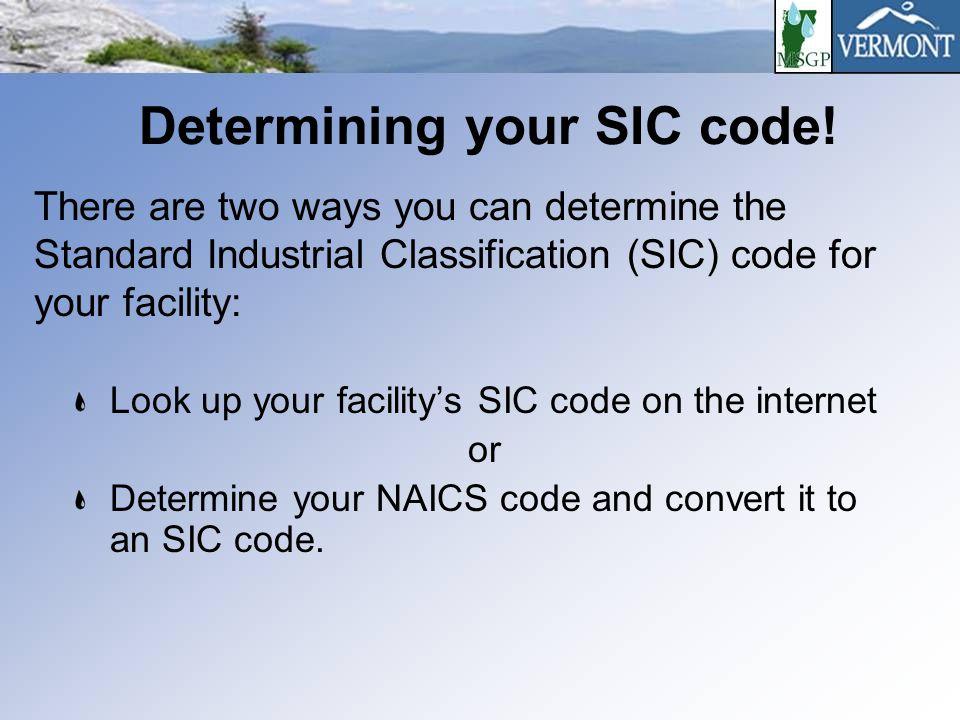 Determining your SIC code.