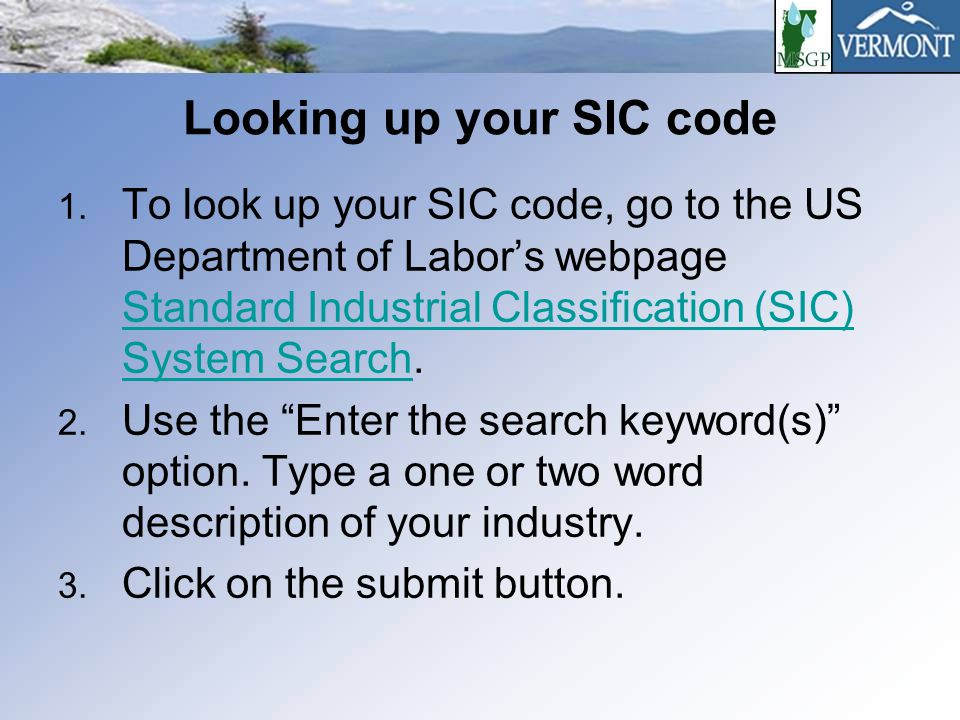 Looking up your SIC code 1.