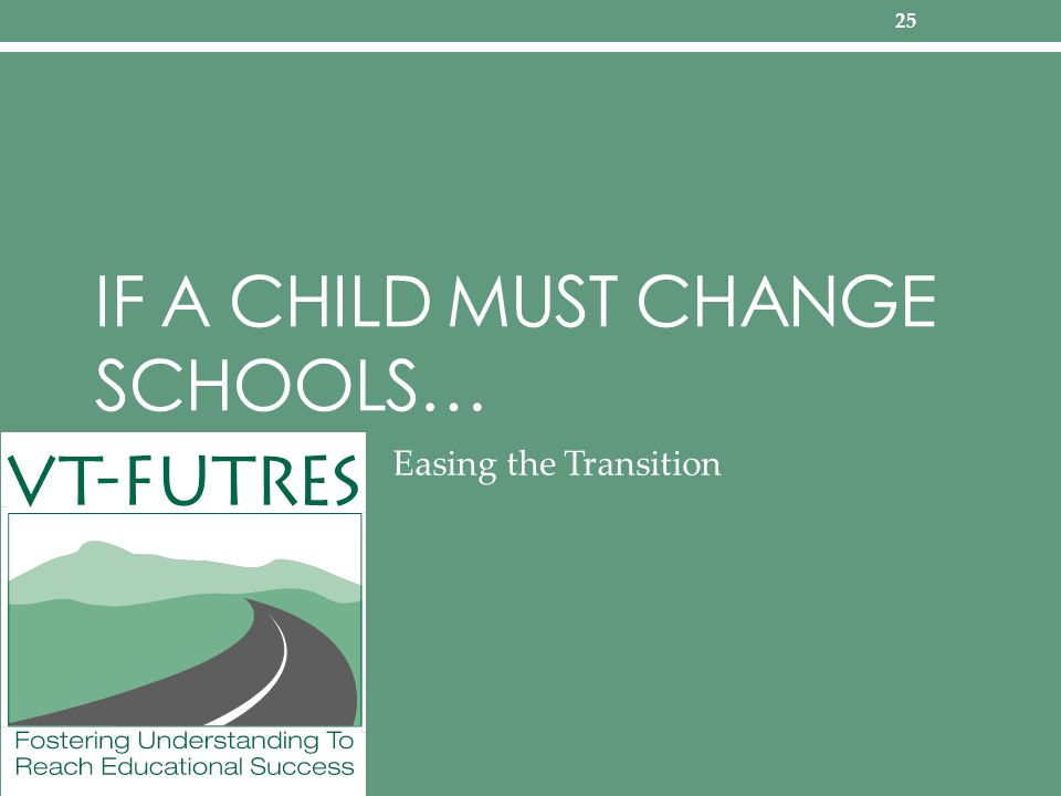 IF A CHILD MUST CHANGE SCHOOLS… Easing the Transition 25