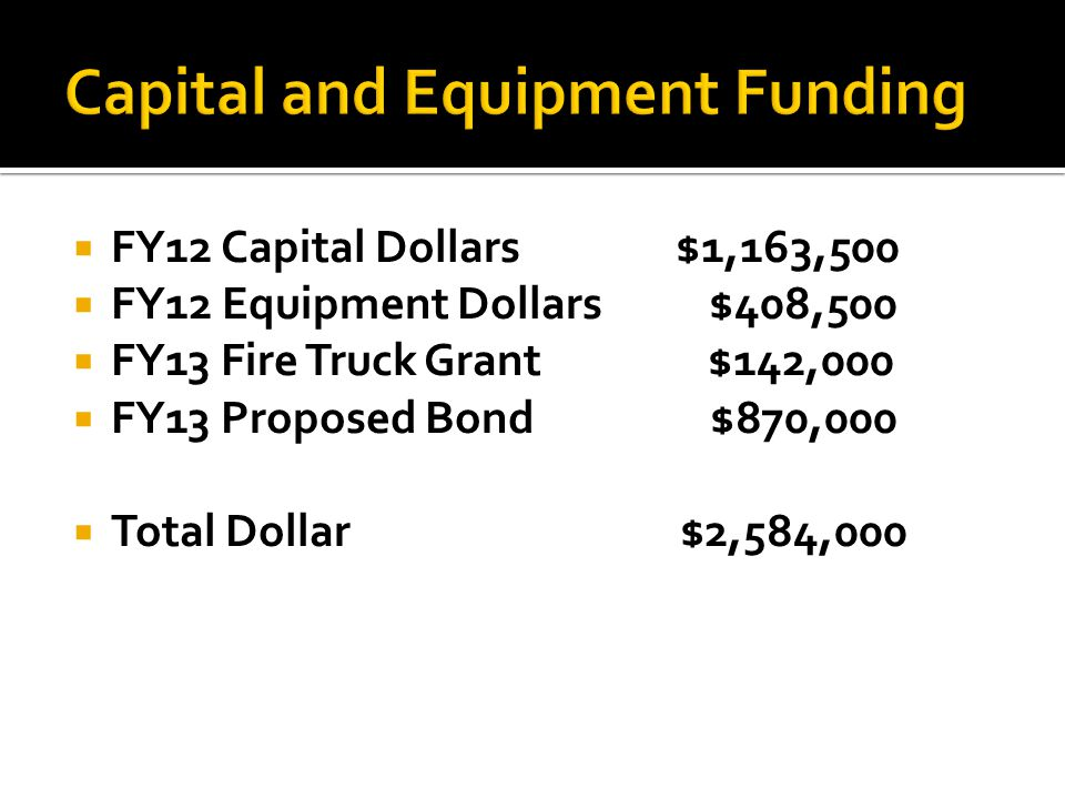  FY12 Capital Dollars $1,163,500  FY12 Equipment Dollars $408,500  FY13 Fire Truck Grant $142,000  FY13 Proposed Bond $870,000  Total Dollar $2,584,000