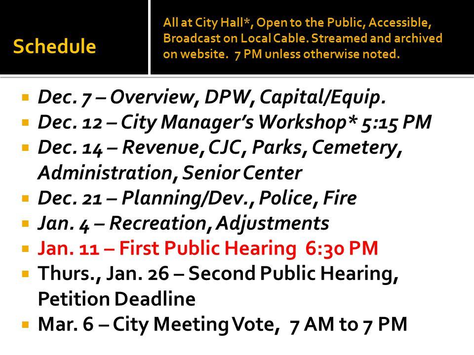 Schedule  Dec. 7 – Overview, DPW, Capital/Equip.