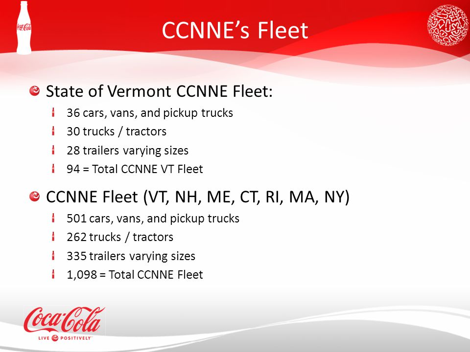 CCNNE's Fleet State of Vermont CCNNE Fleet: 36 cars, vans, and pickup trucks 30 trucks / tractors 28 trailers varying sizes 94 = Total CCNNE VT Fleet