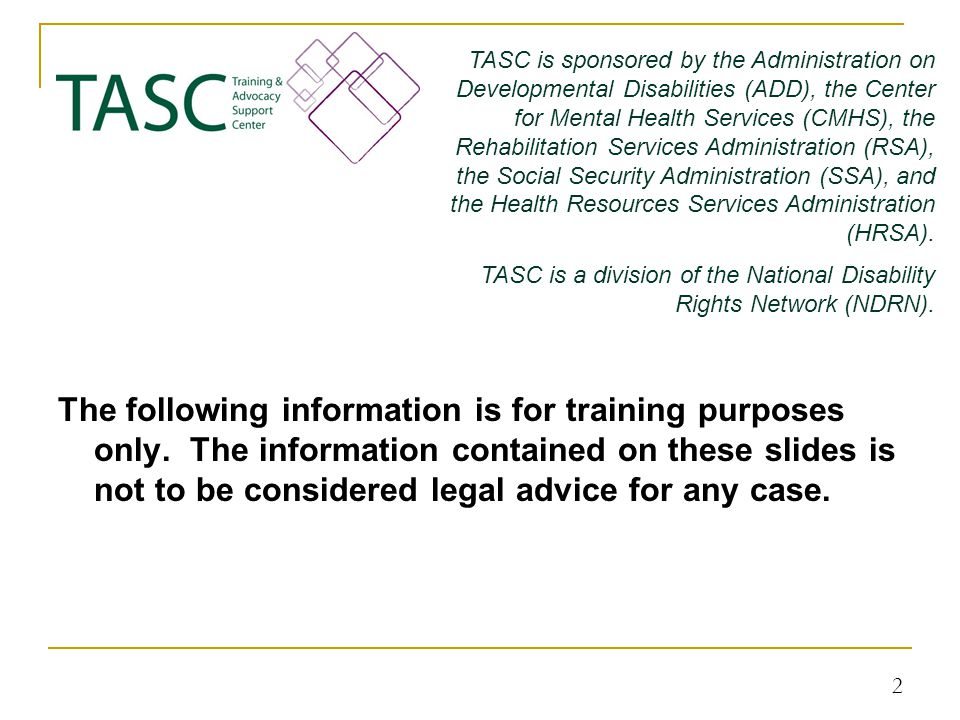 The following information is for training purposes only.