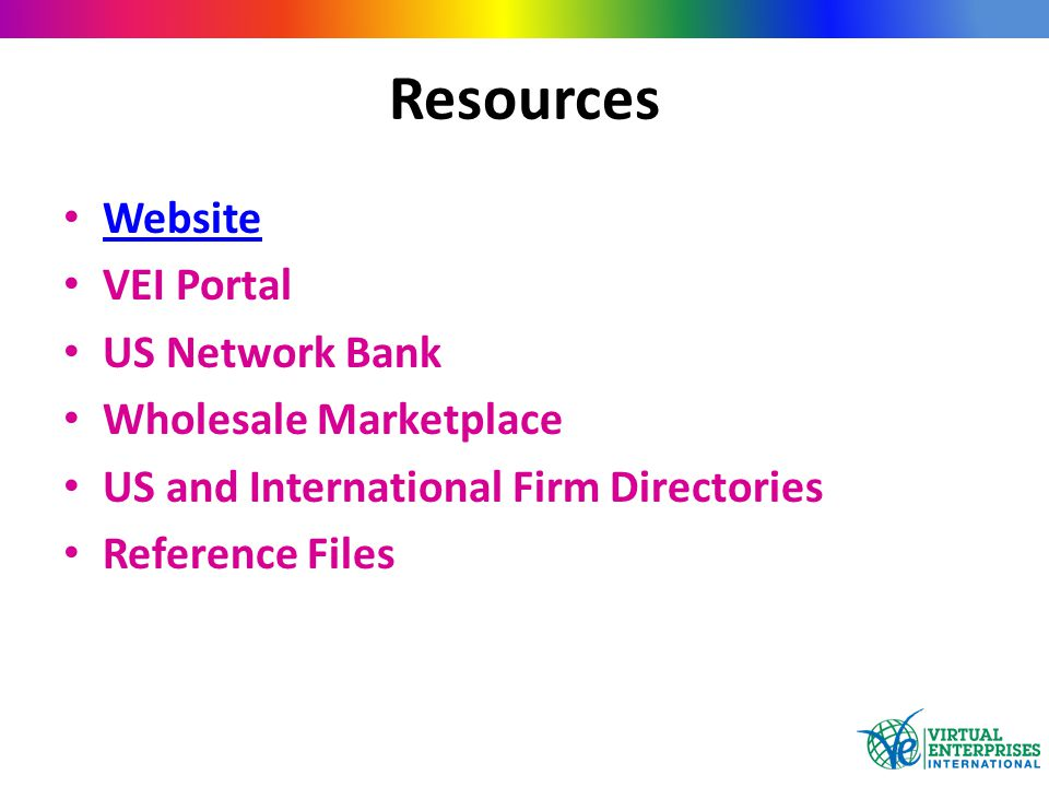 Resources Website VEI Portal US Network Bank Wholesale Marketplace US and International Firm Directories Reference Files