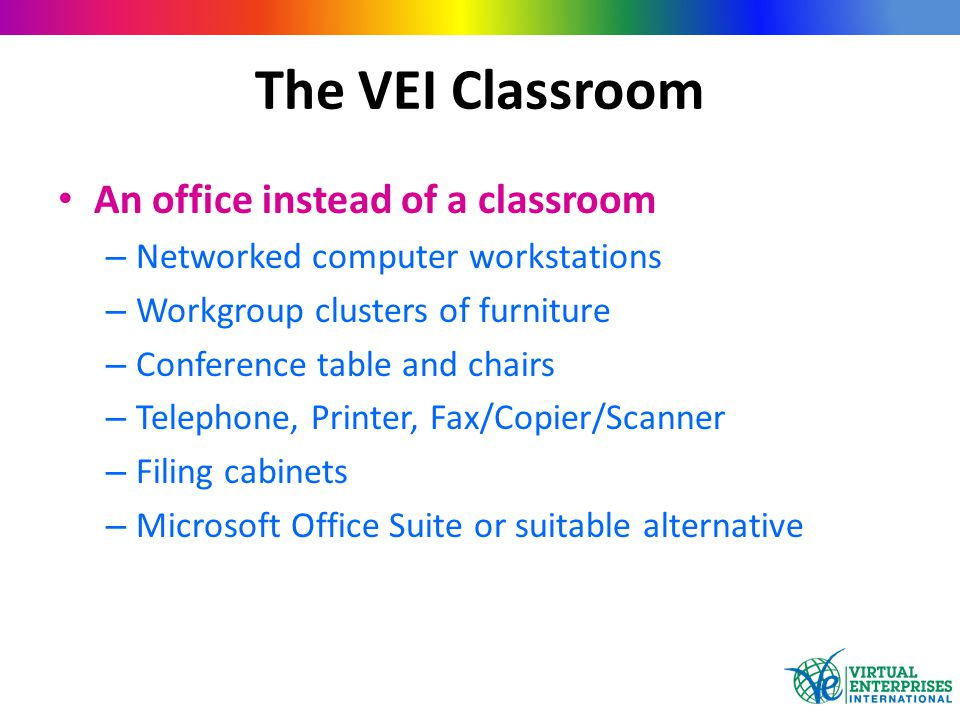 An office instead of a classroom – Networked computer workstations – Workgroup clusters of furniture – Conference table and chairs – Telephone, Printe