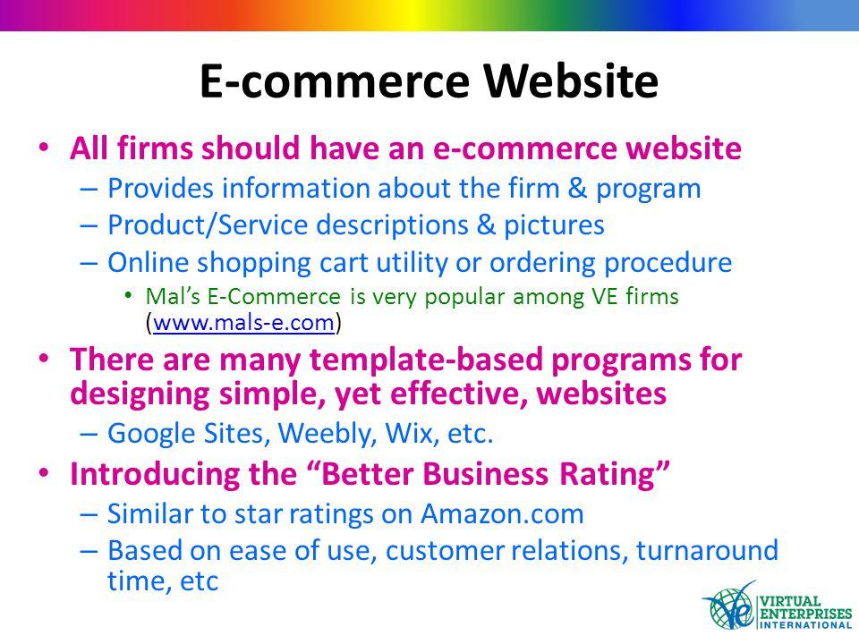 E-commerce Website All firms should have an e-commerce website – Provides information about the firm & program – Product/Service descriptions & pictur