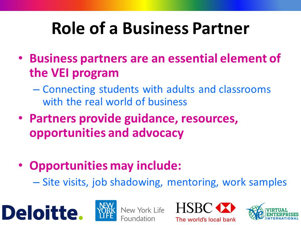 Role of a Business Partner Business partners are an essential element of the VEI program – Connecting students with adults and classrooms with the rea