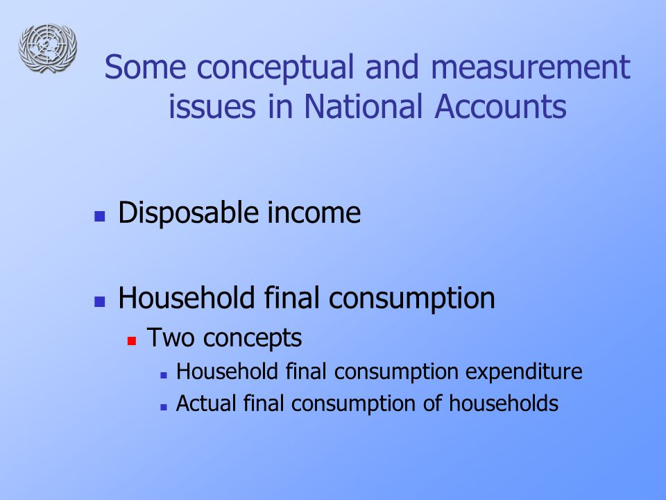 Some conceptual and measurement issues in National Accounts Disposable income Household final consumption Two concepts Household final consumption expenditure Actual final consumption of households