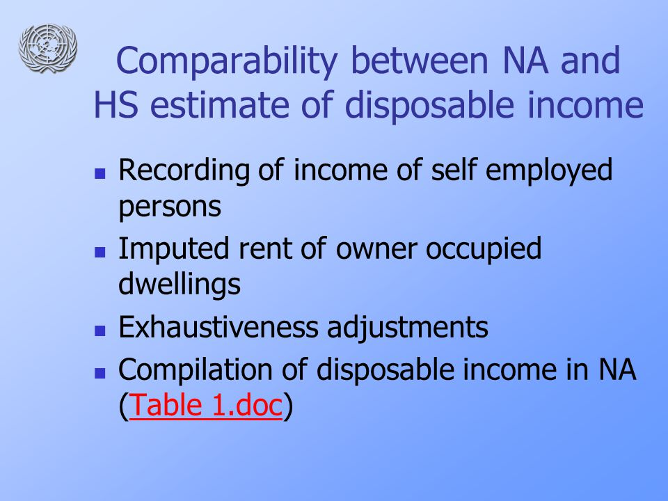 Comparability between NA and HS estimate of disposable income Recording of income of self employed persons Imputed rent of owner occupied dwellings Exhaustiveness adjustments Compilation of disposable income in NA (Table 1.doc)Table 1.doc