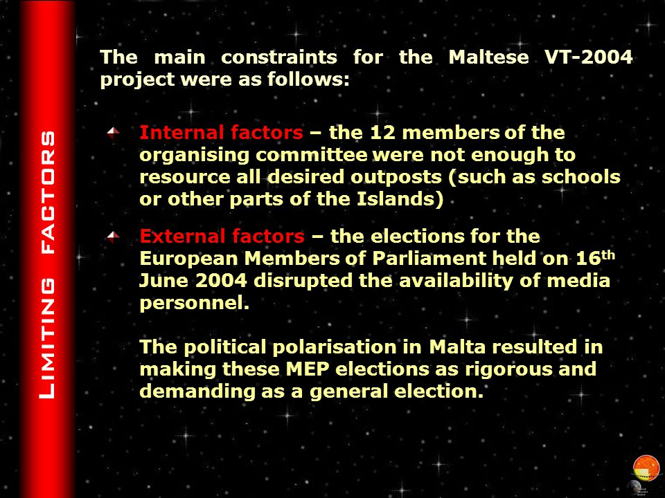 Society members Persons interested in Astronomy were contacted as follows : Members and non-members were continuously updated with information through our free mailing list … info@maltastro.org … and the Malta Astronomy Week activities Members were informed in more detail both about the VT-2004 project and the transit itself through articles listed in ASM publications Monthly Newsletters Quarterly publication The Big Bang