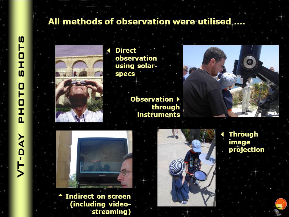 Observation site Activities The observing site had the following services: Observation equipment – various telescopes and binoculars Live streaming of the transit to enable: On-site observers to watch it on a 32-inch monitor School children at school, sick persons and those working could observe it on internet On-site exhibition providing information on the event and on astronomy in general